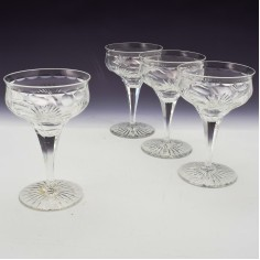Four Webb Corbett Rock Crystal Champagne Coupes 1930-1947