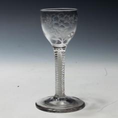 Jacobite Sympathy Opaque Twist Wine Glass c1780