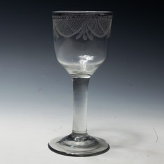 Wheel Engraved Plain Stemmed Wine Glass c1770
