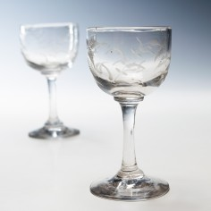 A Pair of Victorian Engraved Gin Glasses c1880