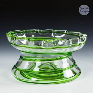 A Stuart & Sons Art Nouveau Green Trailed Bowl c1910