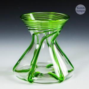 A Stuart & Sons Art Nouveau Green Trailed Vase c1910