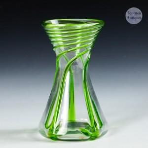 An Art Nouveau Green Trailed Vase c1910