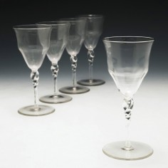 Five James Powell & Sons, Whitefriars Port Wine Glasses  c1880/90