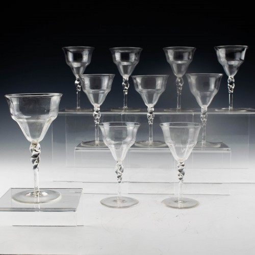 A Set of Ten James Powell & Sons, Whitefriars Port Glasses c1880/90