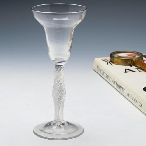 Georgian Pan Top Air Twist Wine Glass c1750