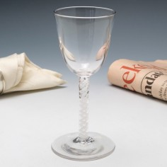 Early 20th Century Reproduction Georgian Opaque Twist Wine Glass