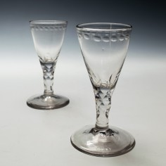 Two Facet Cut Stem Port Wine Glasses c1770