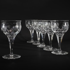 Set of Six Webb Corbett Rock Crystal Wine Glasses c1940