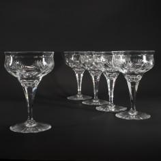 Six Webb Corbett Rock Crystal Champagne Coupes c1940