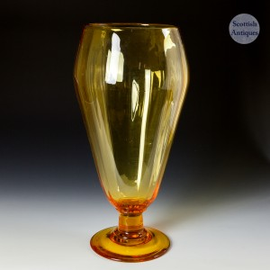 A James Powell Or Stuart & Sons Large Old Amber Vase c1930