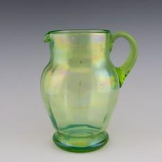 A Large Iridised Uranium Glass Jug c1900