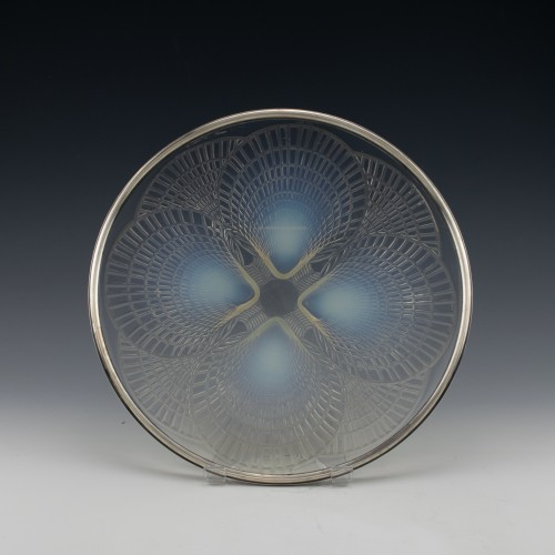 René Lalique Coquilles Plate with Hallmarked French Silver Rim c1924