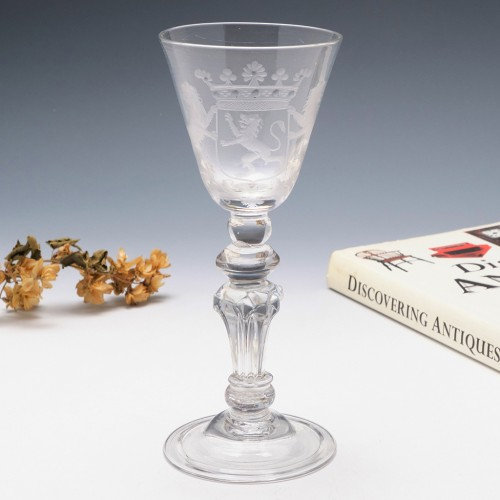 Composite Stem Wine Glass Engraved With the Coat of Arms of the Dutch Republic c1740