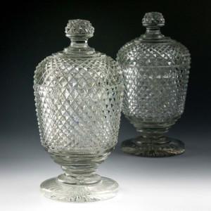 Pair of  Georgian Diamond Cut Lidded Jars c1830