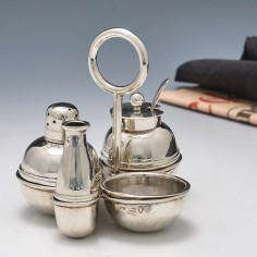 Christopher Dresser Design Sterling Silver Cruet Set London 1886