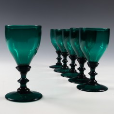Set of Six Bristol Green Wine Glasses c1830