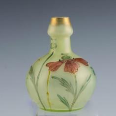 Loetz Enamelled and Gilded Arcadia Bottle Vase c1900
