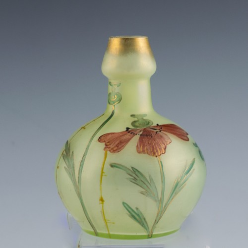 Loetz Enamelled and Gilded Arcadia Bottle Vase c1900