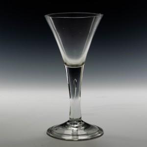Georgian Drawn Trumpet Wine Glass c1750