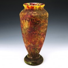 Very Tall Daum Marbled Cameo Vase c1900