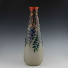 Very Tall Enamelled Daum Vase Signed Leune c1925