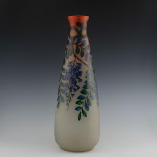 Very Tall Enamelled Daum Vase Signed Leune c1925