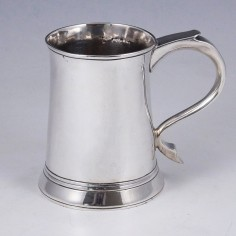 Georgian Three Gill Sterling Silver Tankard London 1770