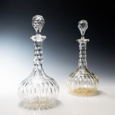 Pair of Victorian Shaft and Globe Decanters c1870