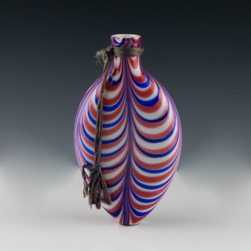 Large Nailsea Polychrome Flask c1855