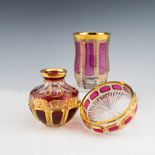Three  Ruby and Cranberry Cabochon Panelled Vanity Glasswares c1910