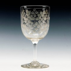 Large Thomas Webb And Sons Engraved Wine Glass c1905