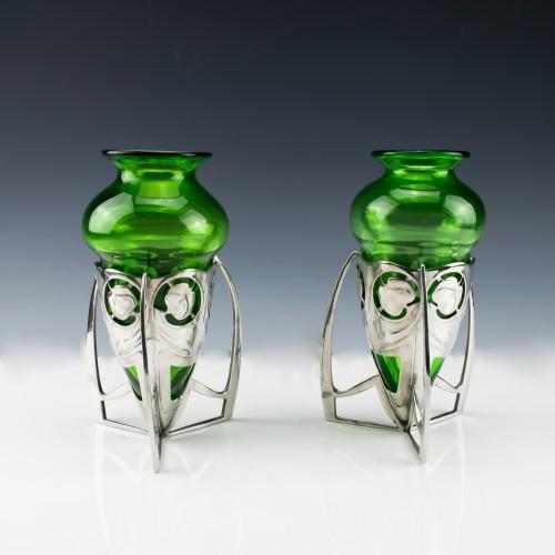 """Pair of Archibald Knox Designed """"Bomb"""" Vases  c1905"""