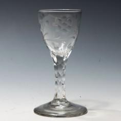 Jacobite Sympathy Facet Cut Stem Wine Glass c1780