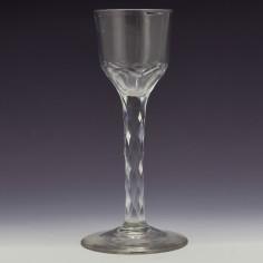 Georgian Facet Cut Stem Wine Glass c1780