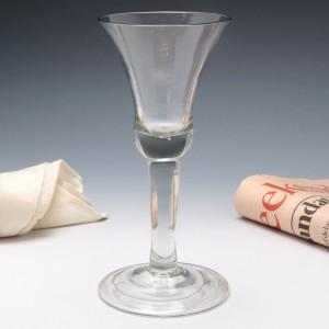 A Fine Plain Stem Georgian Wine Goblet c1745