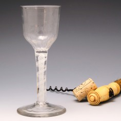 Large Georgian Opaque Twist Wine Glass With Petal Moulded Bowl c1760