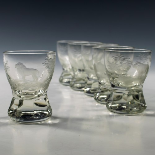 Set of Six Rowland Ward Big Game Engraved Firing Glasses c1970