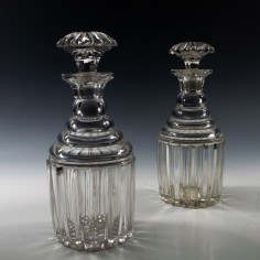 Pair of Regency or Early Victorian Bludgeon Decanters c1835