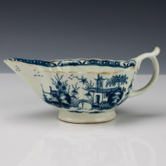 "First Period Worcester ""The Mission Church"" Blue and White Sauceboat c1765"