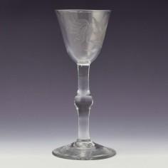 Engraved Georgian Balustroid Stem Wine Glass c1740