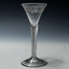 Wheel Engraved Air Twist Wine Glass c1750