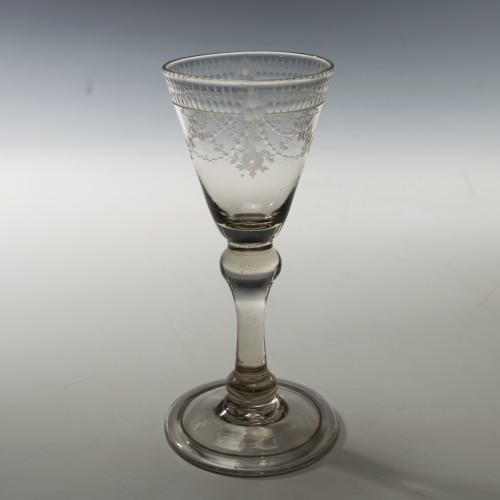 Georgian Balustroid Stem Wine Glass c1730