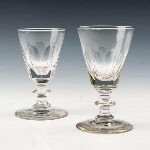 Two Victorian Dram Glasses c1870