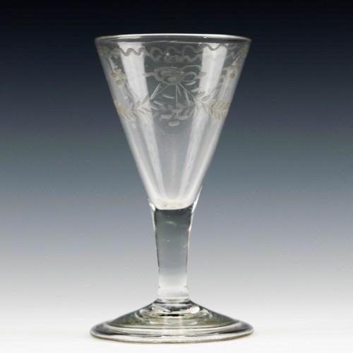 Engraved Georgian Port Wine Glass c1750
