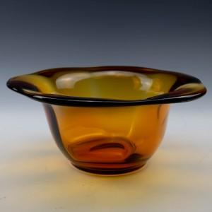 English Amber Glass Bowl Stourbridge or Whitefriars c1930