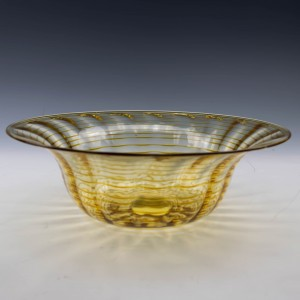 A Whitefriars Threaded Ribbed Shallow Bowl c1930's
