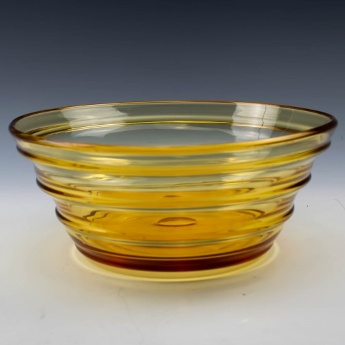 Whitefriars Crystal Gold Amber Ribbed Bowl c1949 Pattern 9307