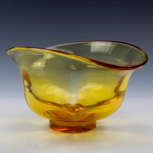 Whitefriars Wilson or Hogan  Gold Amber Footed Bowl c1935