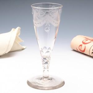 An Engraved  Facet Cut Stem Ale Glass c1780